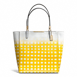 COACH F30120 - MADISON GINGHAM SAFFIANO NORTH/SOUTH TOTE LIGHT GOLD/WHITE/SUNGLOW
