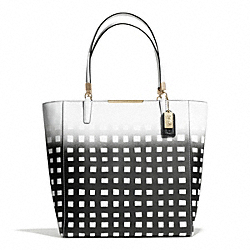 COACH F30120 - MADISON GINGHAM SAFFIANO NORTH/SOUTH TOTE LIGHT GOLD/WHITE/BLACK