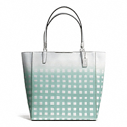 COACH F30120 - MADISON GINGHAM SAFFIANO NORTH/SOUTH TOTE SILVER/WHITE/DUCK EGG