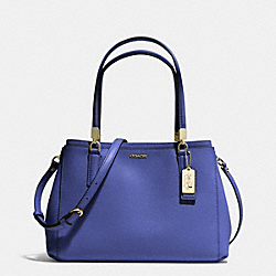 COACH F30128 Madison Saffiano Leather Small Christie Carryall LIGHT GOLD/LACQUER BLUE
