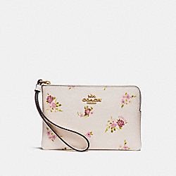 COACH F30140 Corner Zip Wristlet With Daisy Bundle Print CHALK MULTI/IMITATION GOLD