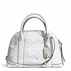 COACH F30153 Bleecker Signature Embossed Leather Preston Satchel GOLD/WHITE