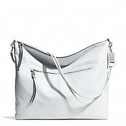 COACH F30156 Bleecker Pebble Leather Large Daily Shoulder Bag SILVER/WHITE