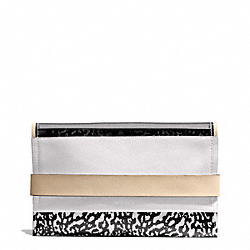 BLEECKER MIXED MEDIA CLUTCH - f30162 - SILVER/SMOKE