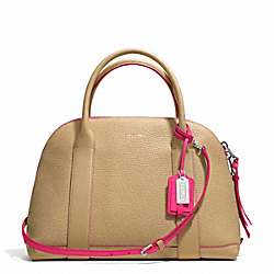 COACH F30165 Bleecker Edgepaint Leather Preston Satchel SILVER/CAMEL/PINK RUBY
