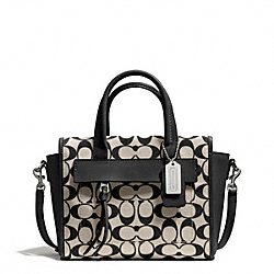 COACH F30168 - BLEECKER MINI RILEY CARRYALL IN PRINTED SIGNATURE  SILVER/LIGHT GOLDGHT KHAKI BLACK