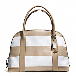 COACH F30173 Bleecker Striped Coated Canvas Large Preston Satchel SILVER/TAN WHITE