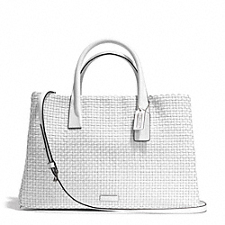 COACH F30175 Bleecker Woven Leather Studio Tote SILVER/WHITE