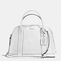 COACH F30177 Bleecker  Woven Leather Preston Satchel SILVER/WHITE