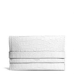 COACH F30179 Bleecker Matte Croc Embossed Leather  Pinnacle Clutch SILVER/GREY