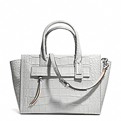 COACH F30180 Bleecker Matte Croc Embossed Leather Pinnacle Riley Carryall  SILVER/GREY