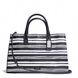 COACH F30181 Bleecker Studio Tote In Embossed Woven Leather  SILVER/WHITE/ULTRA NAVY