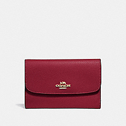 COACH F30204 Medium Envelope Wallet CHERRY /LIGHT GOLD