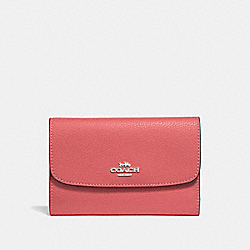 COACH F30204 - MEDIUM ENVELOPE WALLET CORAL/SILVER
