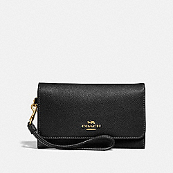 FLAP PHONE WALLET - COACH f30205 - BLACK/light gold