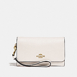 COACH F30205 - FLAP PHONE WALLET CHALK/GOLD