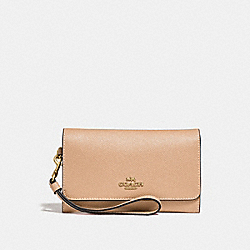 COACH F30205 Flap Phone Wallet BEECHWOOD/LIGHT GOLD