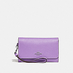 COACH F30205 - FLAP PHONE WALLET IRIS/SILVER
