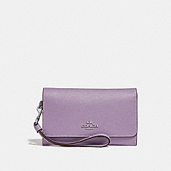 COACH F30205 Flap Phone Wallet JASMINE/SILVER