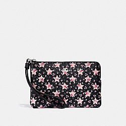 COACH F30206 Corner Zip Wristlet With Star Print MIDNIGHT MULTI/SILVER
