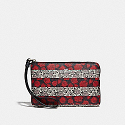 COACH F30208 Corner Zip Wristlet With Rose Queen Stripe Print MULTI/SILVER