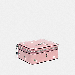 JEWELRY BOX WITH DITSY DAISY PRINT AND BOW ZIP PULL - f30214 - vintage pink multi /silver