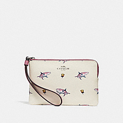 COACH F30216 Corner Zip Wristlet With Shark Rose Print BLACK ANTIQUE NICKEL/CHALK MULTI