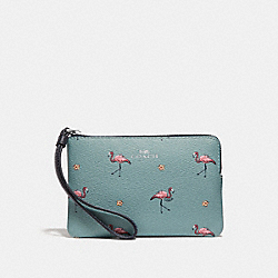 COACH F30217 Corner Zip Wristlet With Flamingo Print SVNGV