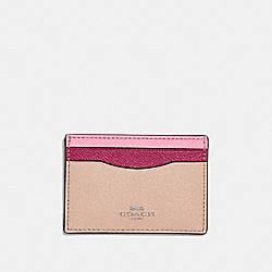 COACH F30218 Card Case In Colorblock SILVER/PINK MULTI