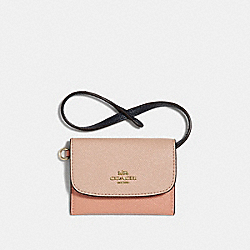 COACH F30219 - CARD POUCH IN COLORBLOCK SUNRISE MULTI/LIGHT GOLD