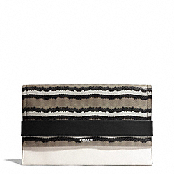 COACH BLEECKER PINNACLE PYTHON EMBOSSED CLUTCH - SILVER/CORIANDER - F30222
