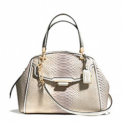 MADISON PINNACLE DOMED SATCHEL IN PYTHON EMBOSSED DEGRADE LEATHER - f30243 -  LIGHT GOLD/NEUTRAL PINK