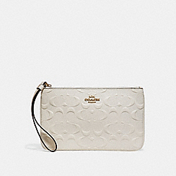 COACH F30248 Large Wristlet In Signature Leather CHALK/IMITATION GOLD