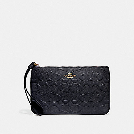 COACH f30248 LARGE WRISTLET IN SIGNATURE LEATHER MIDNIGHT/IMITATION GOLD