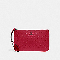 COACH F30248 Large Wristlet In Signature Leather SILVER/HOT PINK