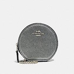COACH F30253 Round Coin Case SILVER/SILVER MULTI