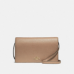 COACH F30256 Foldover Crossbody Clutch NUDE PINK/IMITATION GOLD