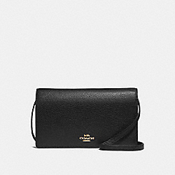 COACH F30256 Foldover Crossbody Clutch BLACK/IMITATION GOLD