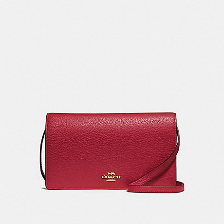 COACH F30256 FOLDOVER CROSSBODY CLUTCH CHERRY-/LIGHT-GOLD