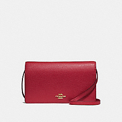 COACH F30256 Foldover Crossbody Clutch CHERRY /LIGHT GOLD