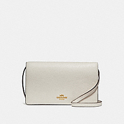 COACH F30256 Foldover Crossbody Clutch CHALK/LIGHT GOLD