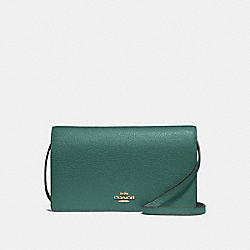 COACH F30256 Foldover Crossbody Clutch DARK TURQUOISE/LIGHT GOLD