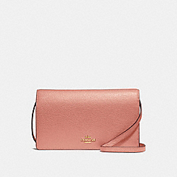 COACH F30256 Foldover Crossbody Clutch MELON/LIGHT GOLD