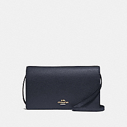 HAYDEN FOLDOVER CROSSBODY CLUTCH - F30256 - MIDNIGHT/GOLD