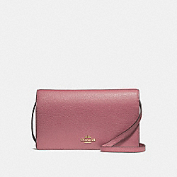 COACH F30256 Foldover Crossbody Clutch VINTAGE PINK MULTI/IMITATION GOLD