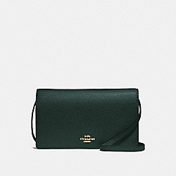 HAYDEN FOLDOVER CROSSBODY CLUTCH - F30256 - IVY/IMITATION GOLD