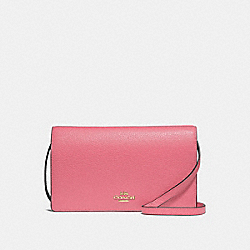 COACH F30256 Foldover Crossbody Clutch PEONY/LIGHT GOLD