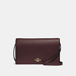 HAYDEN FOLDOVER CROSSBODY CLUTCH - F30256 - WINE/IMITATION GOLD