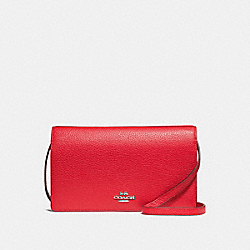 COACH F30256 Foldover Crossbody Clutch BRIGHT RED/SILVER