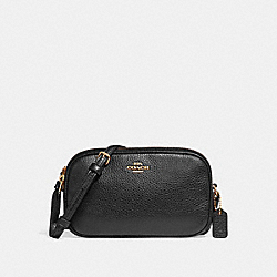 COACH F30259 - CROSSBODY POUCH BLACK/LIGHT GOLD